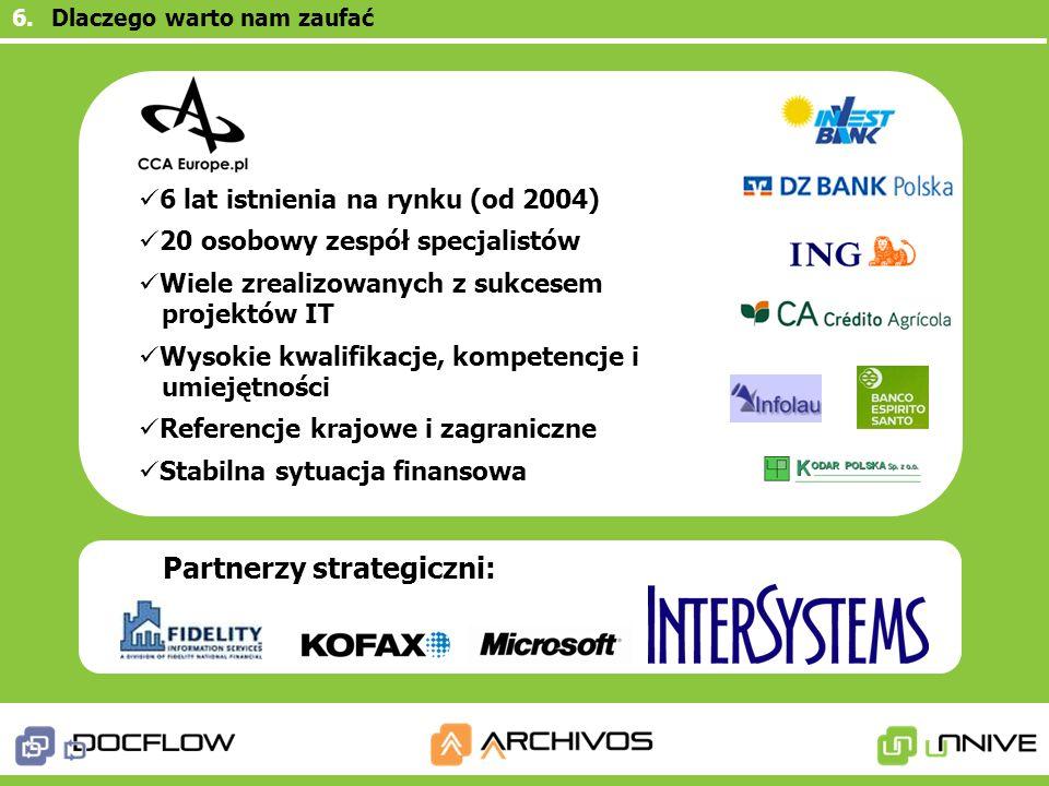 Partnerzy strategiczni: 6 lat istnienia na rynku (od 2004) 20 osobowy zespół specjalistów Wiele zrealizowanych z sukcesem projektów IT Wysokie kwalifi