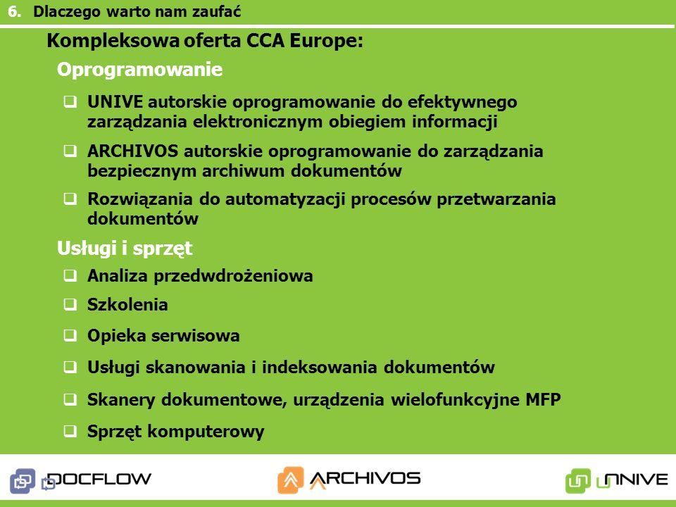 Kompleksowa oferta CCA Europe: Oprogramowanie Usługi i sprzęt 6.Dlaczego warto nam zaufać UNIVE autorskie oprogramowanie do efektywnego zarządzania el