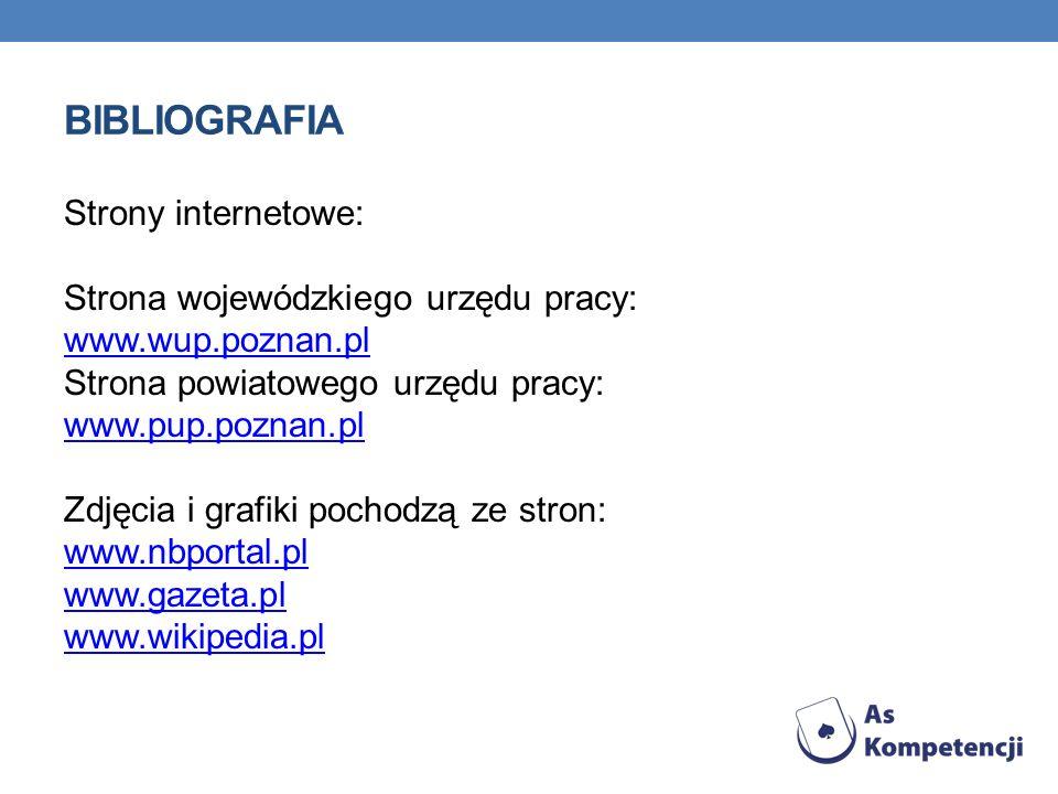 BIBLIOGRAFIA Strony internetowe: Strona wojewódzkiego urzędu pracy: www.wup.poznan.pl Strona powiatowego urzędu pracy: www.pup.poznan.pl Zdjęcia i grafiki pochodzą ze stron: www.nbportal.pl www.gazeta.pl www.wikipedia.pl www.wup.poznan.pl www.pup.poznan.pl www.nbportal.pl www.gazeta.pl www.wikipedia.pl