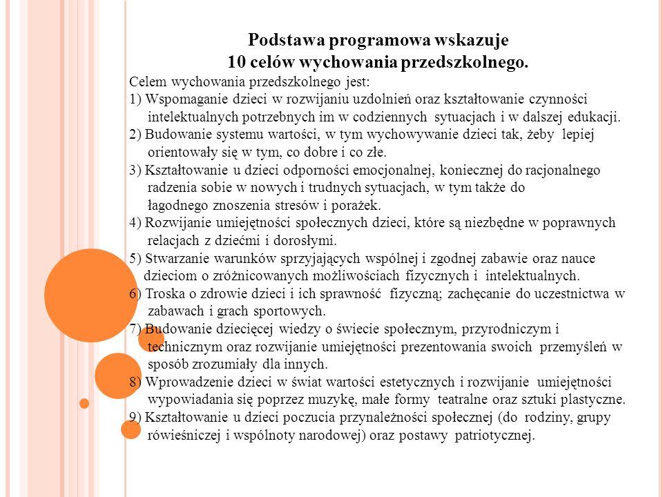 Podstawa programowa wskazuje 10 celów wychowania przedszkolnego. Celem wychowania przedszkolnego jest: 1) Wspomaganie dzieci w rozwijaniu uzdolnień or