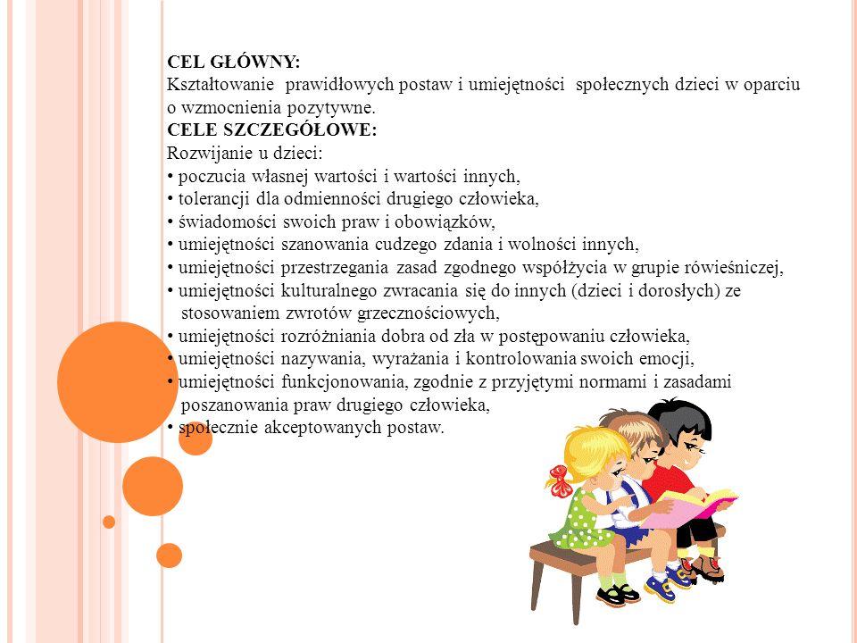 CEL GŁÓWNY: Kształtowanie prawidłowych postaw i umiejętności społecznych dzieci w oparciu o wzmocnienia pozytywne. CELE SZCZEGÓŁOWE: Rozwijanie u dzie