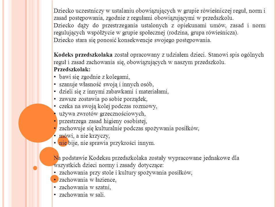 Dziecko uczestniczy w ustalaniu obowiązujących w grupie rówieśniczej reguł, norm i zasad postępowania, zgodnie z regułami obowiązującymi w przedszkolu