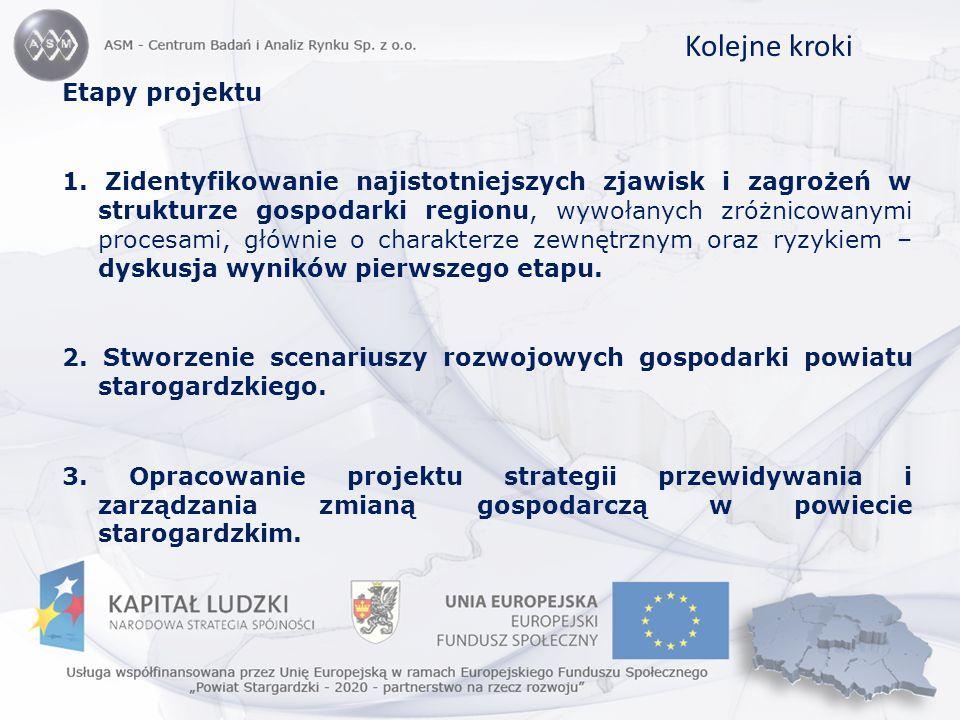 Kolejne kroki Etapy projektu 1. Zidentyfikowanie najistotniejszych zjawisk i zagrożeń w strukturze gospodarki regionu, wywołanych zróżnicowanymi proce