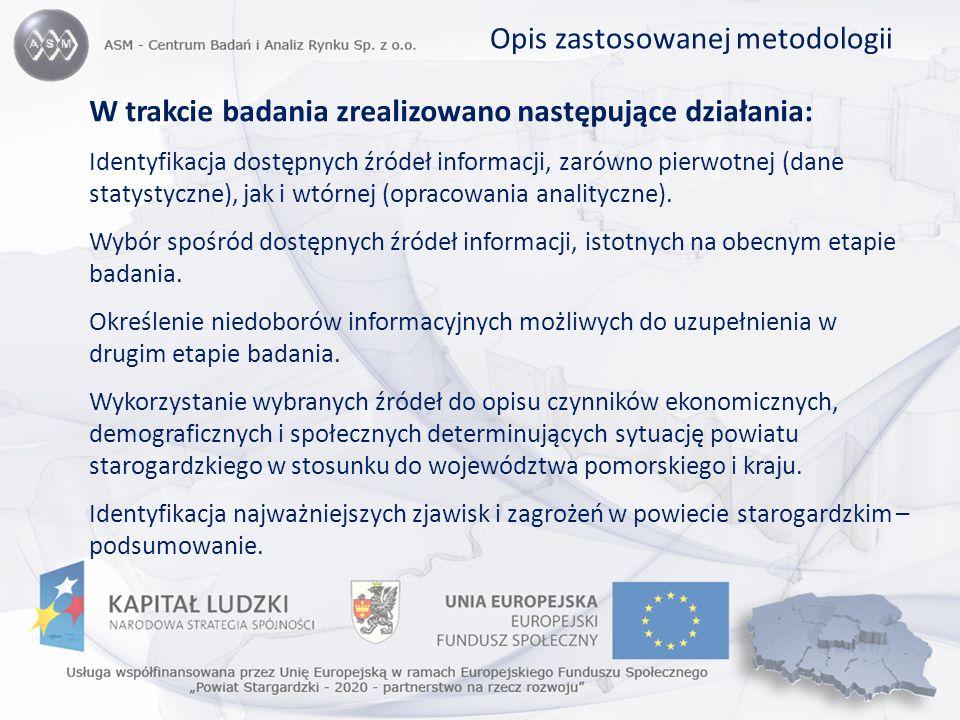 W trakcie badania zrealizowano następujące działania: Identyfikacja dostępnych źródeł informacji, zarówno pierwotnej (dane statystyczne), jak i wtórne