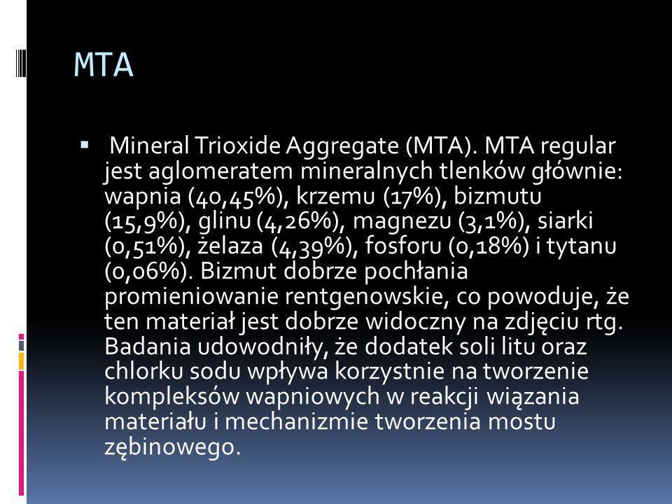 MTA Mineral Trioxide Aggregate (MTA). MTA regular jest aglomeratem mineralnych tlenków głównie: wapnia (40,45%), krzemu (17%), bizmutu (15,9%), glinu