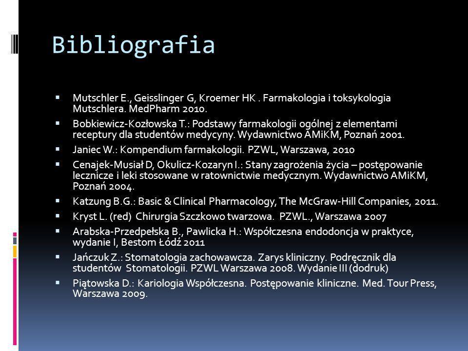 Bibliografia Mutschler E., Geisslinger G, Kroemer HK. Farmakologia i toksykologia Mutschlera. MedPharm 2010. Bobkiewicz-Kozłowska T.: Podstawy farmako