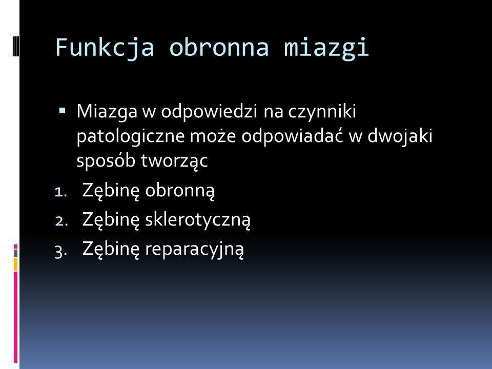 Funkcja obronna miazgi Miazga w odpowiedzi na czynniki patologiczne może odpowiadać w dwojaki sposób tworząc 1. Zębinę obronną 2. Zębinę sklerotyczną