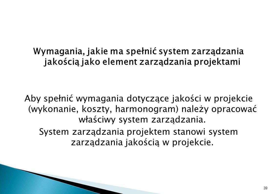Wymagania, jakie ma spełnić system zarządzania jakością jako element zarządzania projektami Aby spełnić wymagania dotyczące jakości w projekcie (wykon