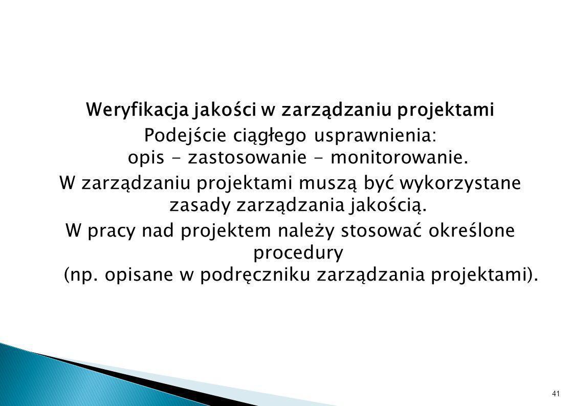 Weryfikacja jakości w zarządzaniu projektami Podejście ciągłego usprawnienia: opis - zastosowanie - monitorowanie. W zarządzaniu projektami muszą być
