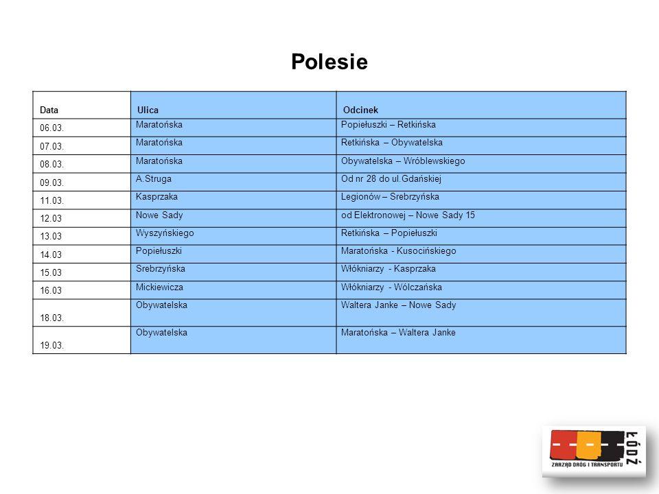 Polesie DataUlicaOdcinek 06.03. MaratońskaPopiełuszki – Retkińska 07.03.