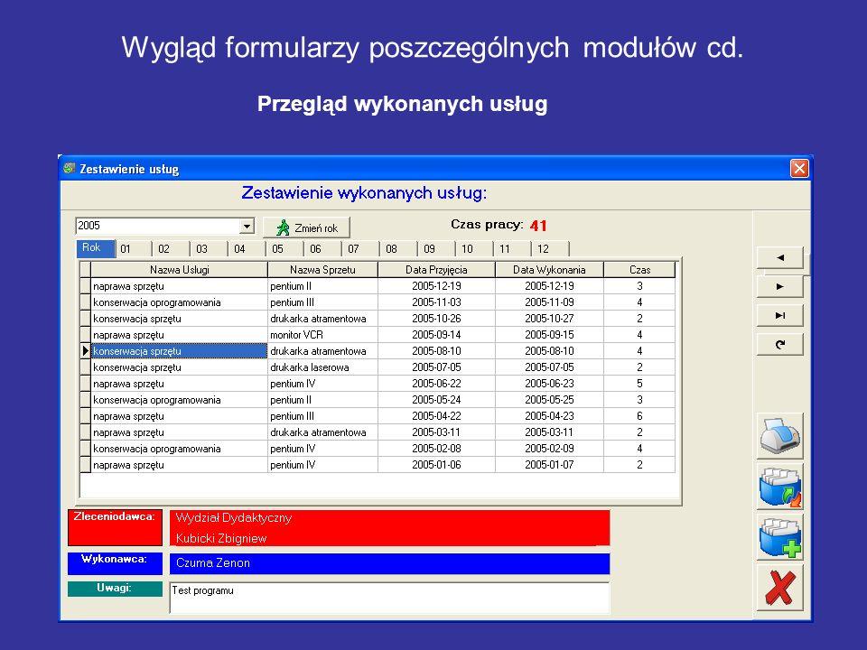 Wygląd formularzy poszczególnych modułów cd. Przegląd wykonanych usług