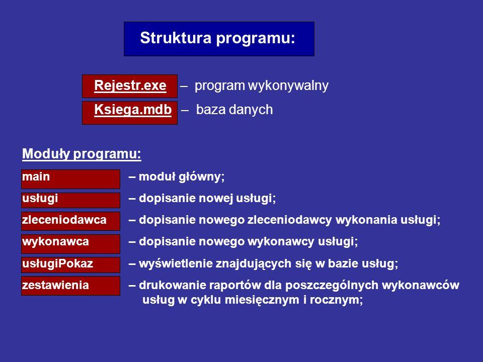 Moduły programu: main – moduł główny; usługi – dopisanie nowej usługi; zleceniodawca – dopisanie nowego zleceniodawcy wykonania usługi; wykonawca – do