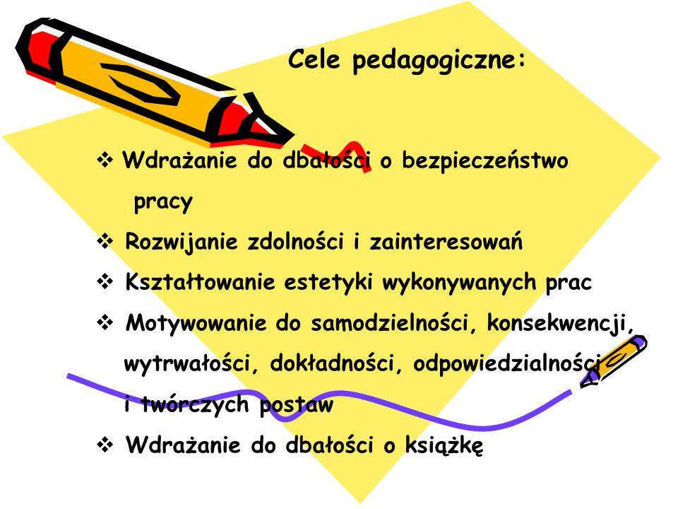 Cele pedagogiczne: Wdrażanie do dbałości o bezpieczeństwo pracy Rozwijanie zdolności i zainteresowań Kształtowanie estetyki wykonywanych prac Motywowa