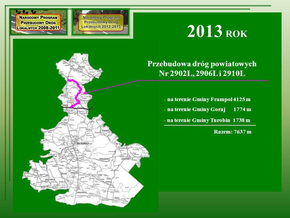 Przebudowa dróg powiatowych Nr 2902L, 2906L i 2910L 2013 ROK - na terenie Gminy Frampol 4125 m - na terenie Gminy Goraj 1774 m - na terenie Gminy Turo