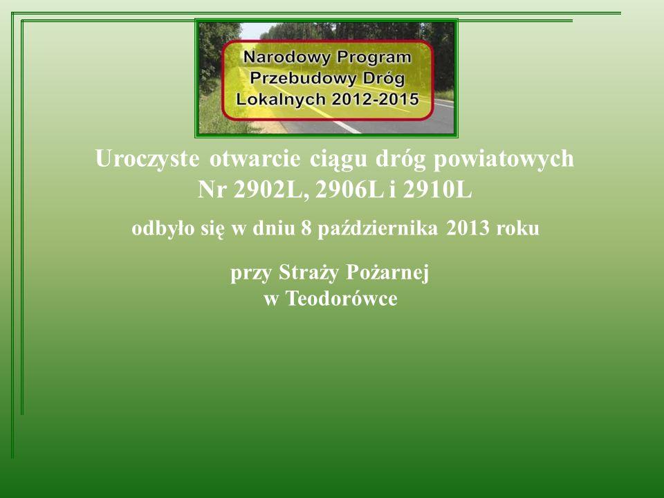 Przebudowa dróg powiatowych Nr 2902L, 2906L i 2910L 2013 ROK - na terenie Gminy Frampol 4125 m - na terenie Gminy Goraj 1774 m - na terenie Gminy Turobin 1738 m Razem: 7637 m