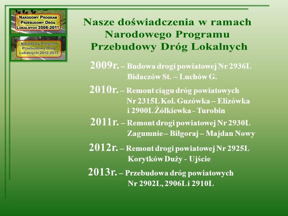 2009r. – Budowa drogi powiatowej Nr 2936L Bidaczów St.