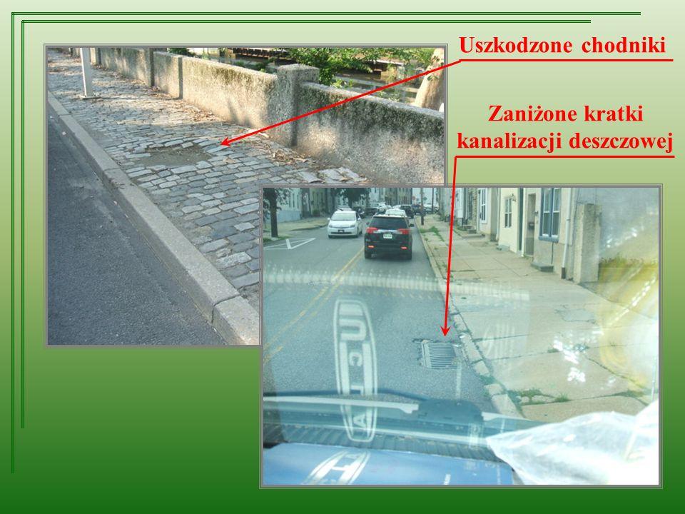 Uszkodzone chodniki Zaniżone kratki kanalizacji deszczowej