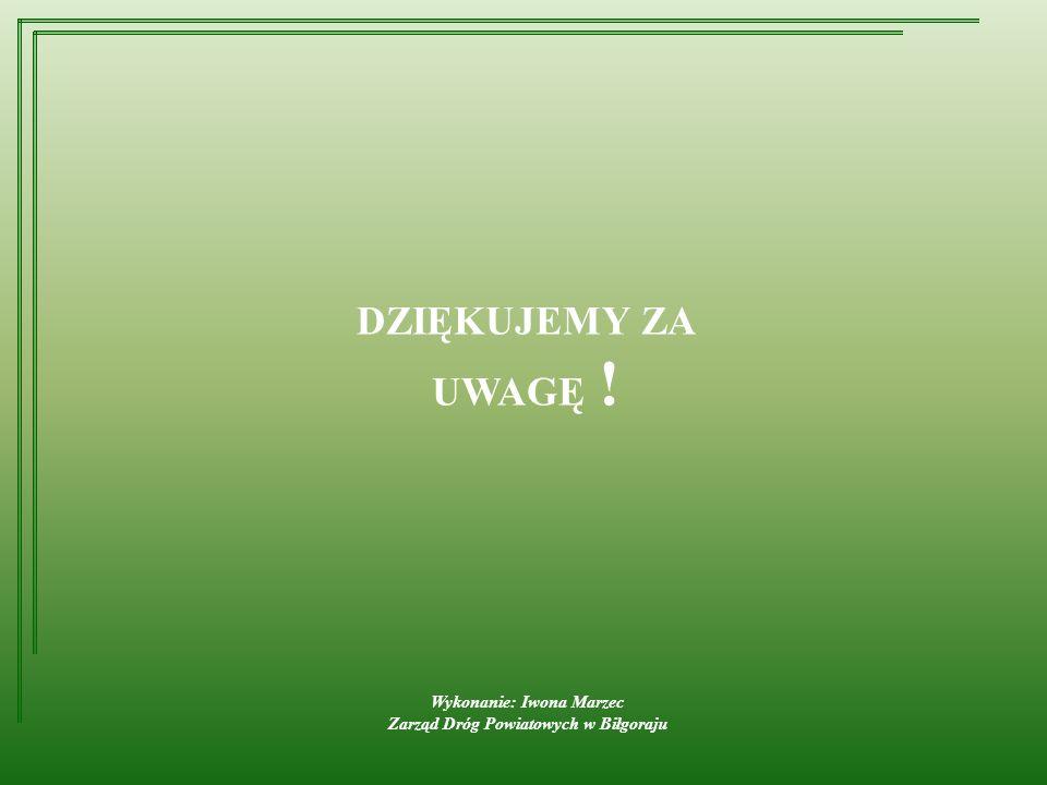 Wykonanie: Iwona Marzec Zarząd Dróg Powiatowych w Biłgoraju DZIĘKUJEMY ZA UWAGĘ !