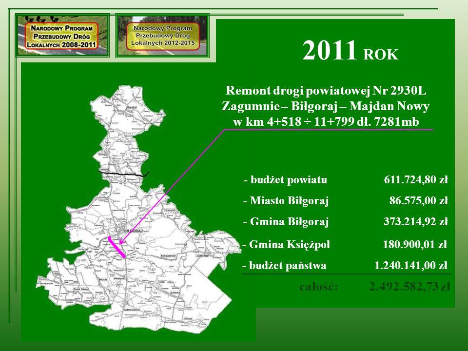 Remont drogi powiatowej Nr 2930L Zagumnie – Biłgoraj – Majdan Nowy w km 4+518 ÷ 11+799 dł.