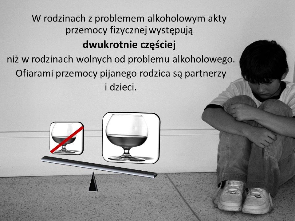 W rodzinach z problemem alkoholowym akty przemocy fizycznej występują dwukrotnie częściej niż w rodzinach wolnych od problemu alkoholowego. Ofiarami p