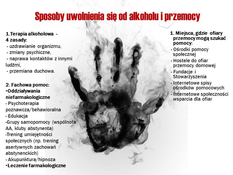 Sposoby uwolnienia się od alkoholu i przemocy 1. Miejsca, gdzie ofiary przemocy mogą szukać pomocy: - Ośrodki pomocy społecznej - Hostele do ofiar prz