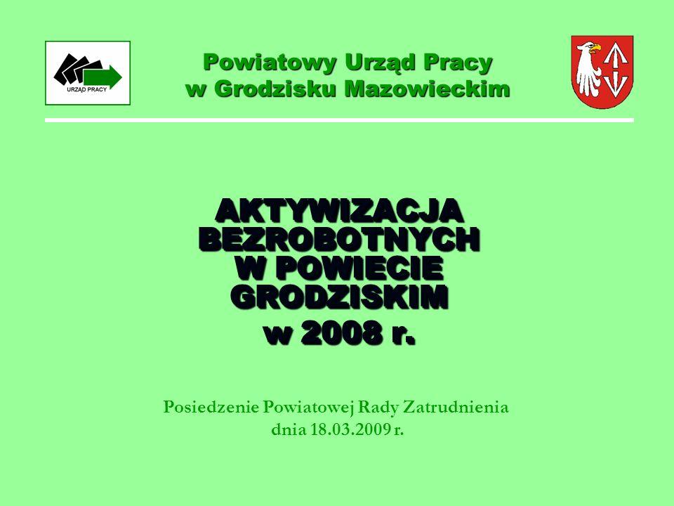 Powiatowy Urząd Pracy w Grodzisku Mazowieckim AKTYWIZACJA BEZROBOTNYCH W POWIECIE GRODZISKIM w 2008 r.