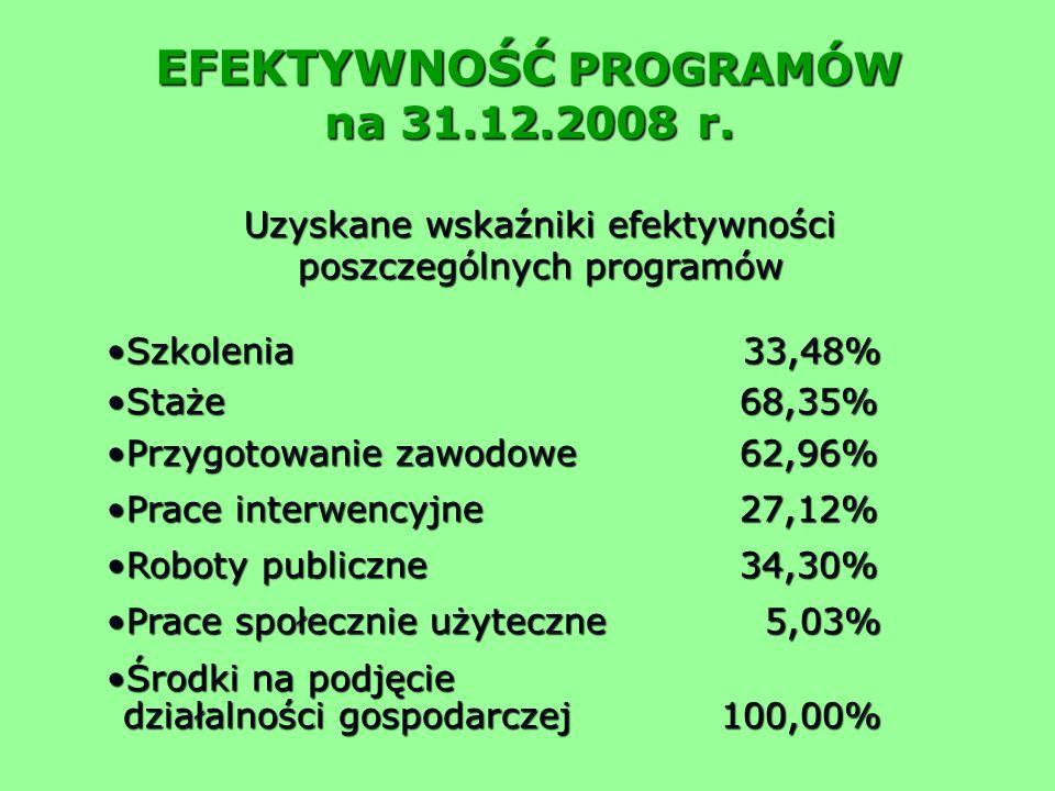 EFEKTYWNOŚĆ PROGRAMÓW na 31.12.2008 r.