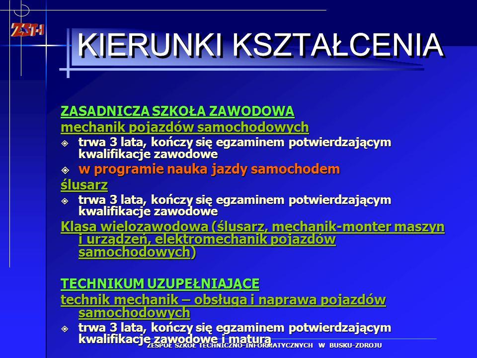 ZESPÓŁ SZKÓŁ TECHNICZNO-INFORMATYCZNYCH W BUSKU-ZDROJU 4 PRACOWNIE INFORMATYCZNE PRACOWNIA RYSUNKU TECHNICZNEGO I TECHNOLOGII KOMPUTEROWYCH PRACOWNIA ELEKTRONICZNA PRACOWNIE SAMOCHODOWE 2 PRACOWNIE GASTRONOMICZNE