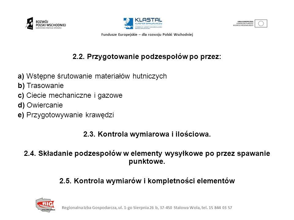 Regionalna Izba Gospodarcza, ul. 1-go Sierpnia 26 b, 37-450 Stalowa Wola, tel. 15 844 03 57 Fundusze Europejskie – dla rozwoju Polski Wschodniej 2.2.
