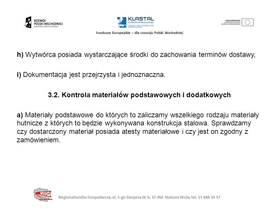 Regionalna Izba Gospodarcza, ul. 1-go Sierpnia 26 b, 37-450 Stalowa Wola, tel. 15 844 03 57 Fundusze Europejskie – dla rozwoju Polski Wschodniej h) Wy