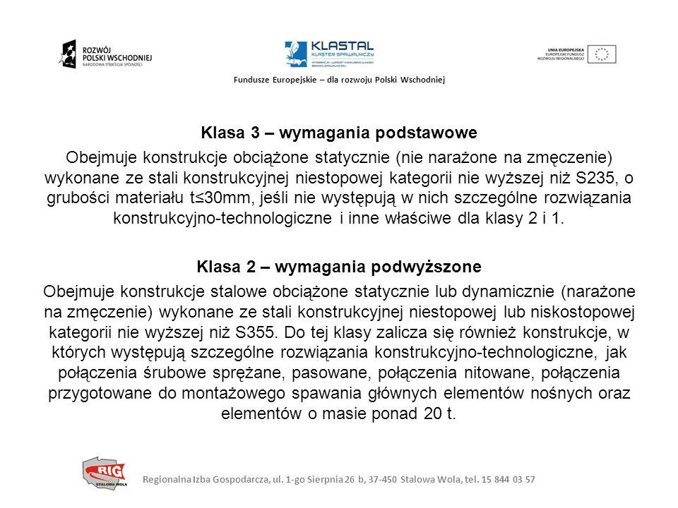 Regionalna Izba Gospodarcza, ul. 1-go Sierpnia 26 b, 37-450 Stalowa Wola, tel. 15 844 03 57 Fundusze Europejskie – dla rozwoju Polski Wschodniej Klasa