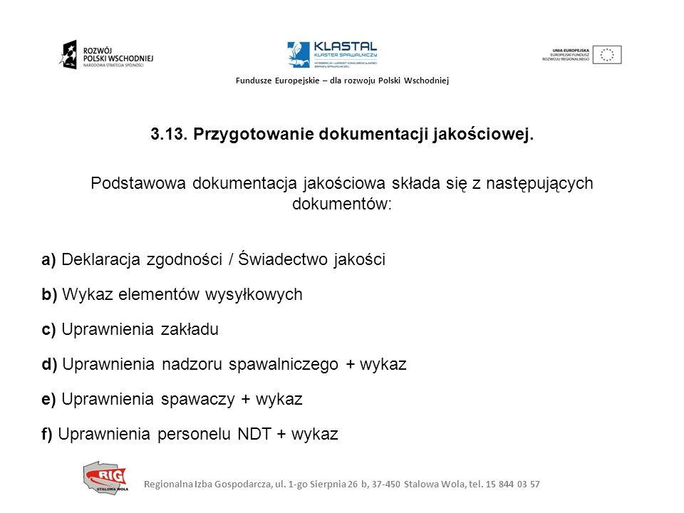 Regionalna Izba Gospodarcza, ul. 1-go Sierpnia 26 b, 37-450 Stalowa Wola, tel. 15 844 03 57 Fundusze Europejskie – dla rozwoju Polski Wschodniej 3.13.