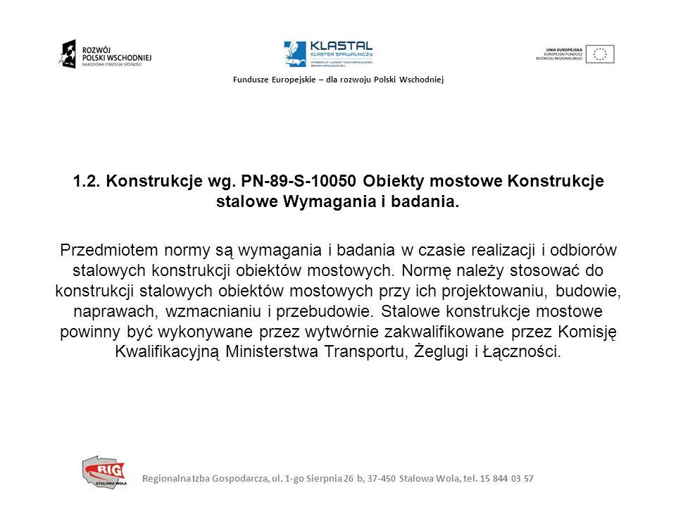 Regionalna Izba Gospodarcza, ul. 1-go Sierpnia 26 b, 37-450 Stalowa Wola, tel. 15 844 03 57 Fundusze Europejskie – dla rozwoju Polski Wschodniej 1.2.
