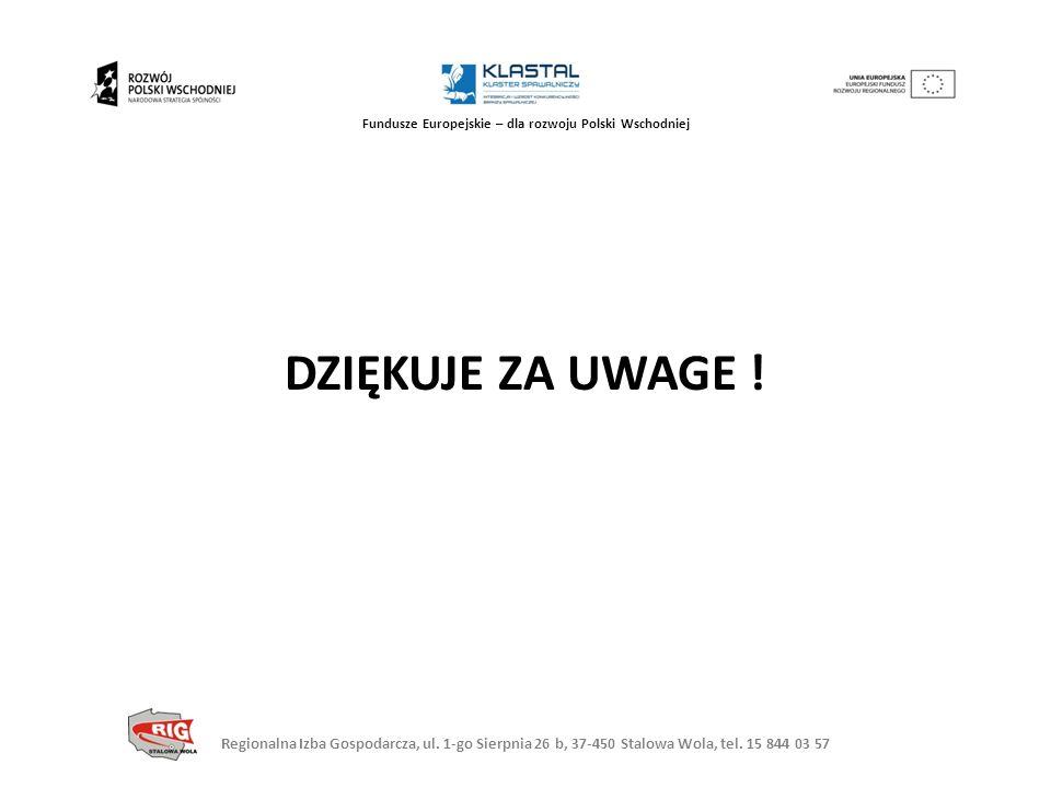 Regionalna Izba Gospodarcza, ul. 1-go Sierpnia 26 b, 37-450 Stalowa Wola, tel. 15 844 03 57 Fundusze Europejskie – dla rozwoju Polski Wschodniej DZIĘK