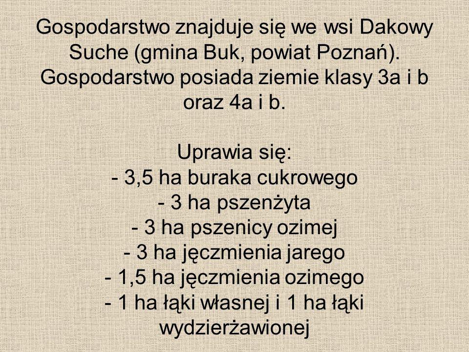 Gospodarstwo znajduje się we wsi Dakowy Suche (gmina Buk, powiat Poznań). Gospodarstwo posiada ziemie klasy 3a i b oraz 4a i b. Uprawia się: - 3,5 ha