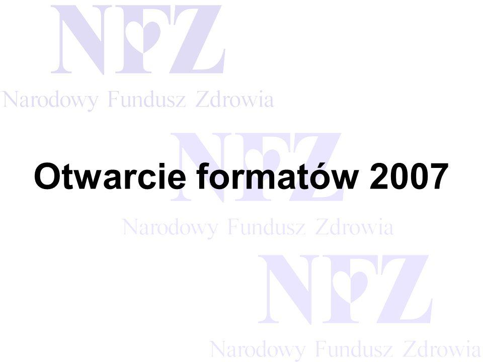 Przekraczamy bariery możliwości Seminarium - Otwarcie formatów 2007 Celem seminarium jest Przedstawienie obiegu dokumentów sprawozdawczych i rozliczeniowych w roku 2007 po wdrożeniu otwartych formatów wymiany danych: Zaopatrzenie ortopedyczne Przedstawienie zmian w funkcjonalności systemów KS-SIKCH, SZOI oraz KS-SWD związanej z realizacją projektu Otwarcie 2007.