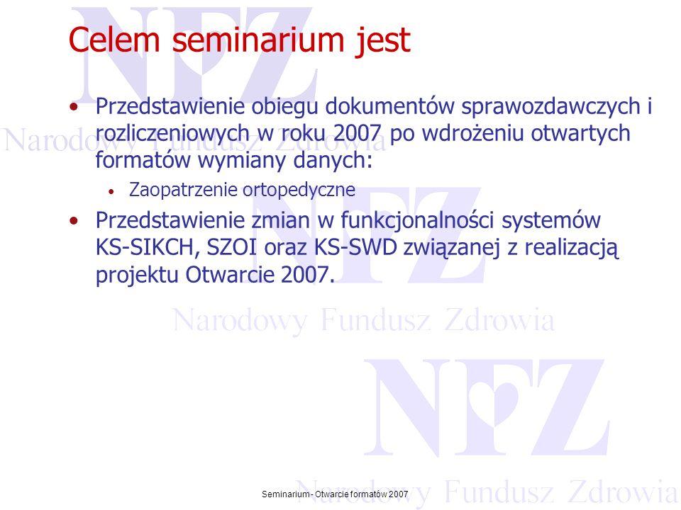 Przekraczamy bariery możliwości Seminarium - Otwarcie formatów 2007 Podstawy prawne Otwarcia 2007 1.Rozporządzenie Ministra Zdrowia z dnia 14 grudnia 2006 (Dz.U.Nr 242 poz.1756) zmieniające rozporządzenie w sprawie zakresu niezbędnych informacji gromadzonych przez świadczeniodawców, szczegółowego sposobu rejestrowania tych informacji oraz ich przekazywania podmiotom zobowiązanym do finansowania świadczeń ze środków publicznych 2.Zarządzenie nr 119 Prezesa NFZ z dnia 22 grudnia 2006 w sprawie określenia szczegółowych komunikatów sprawozdawczych XML przekazywanych przez świadczeniodawców do Narodowego Funduszu Zdrowia od 1 stycznia 2007 roku