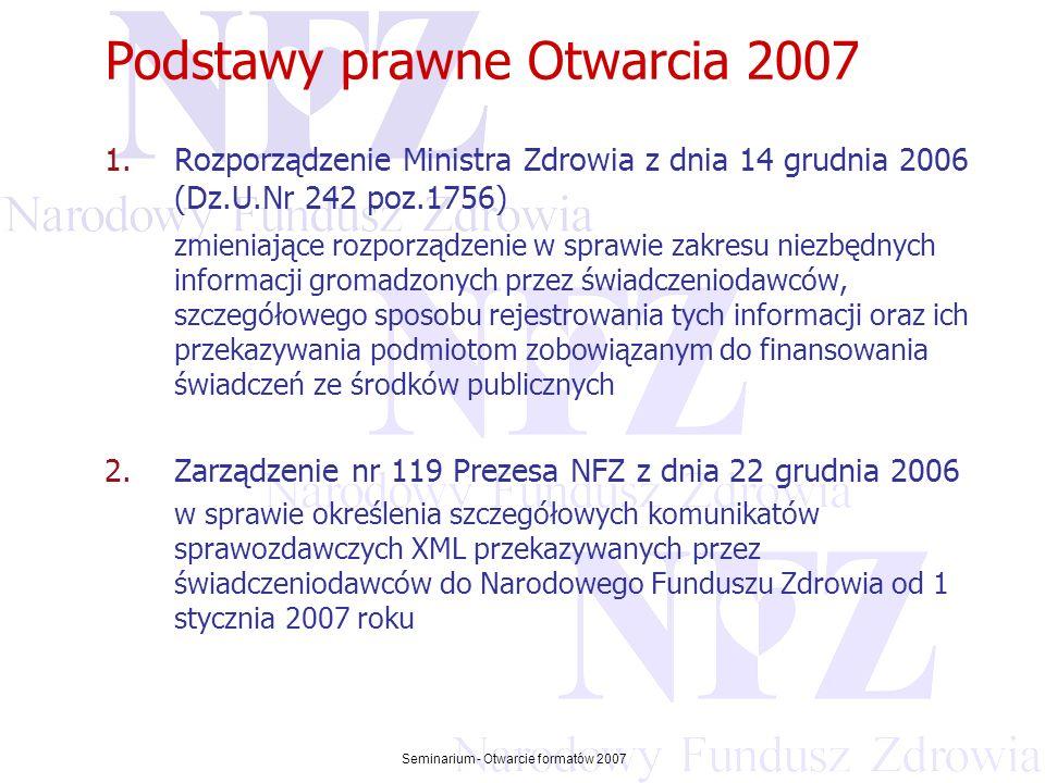 Przekraczamy bariery możliwości Seminarium - Otwarcie formatów 2007 Podstawy prawne Otwarcia 2007 1.Rozporządzenie Ministra Zdrowia z dnia 14 grudnia