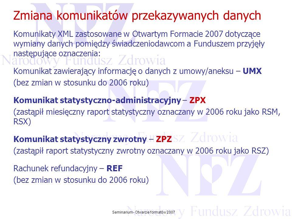 Przekraczamy bariery możliwości Seminarium - Otwarcie formatów 2007 Zmiana komunikatów przekazywanych danych Komunikat statystyczny XML - ZPX komunikat statystyczny zastąpił od 2007 roku raport statystyczny RSM/ RSX / ZSP z 2006 roku; komunikat statystyczny zawiera informację o realizacji wniosków na zaopatrzenie ortopedyczne, czyli umożliwia świadczeniodawcy przekazanie danych statystycznych w otwartym formacie 2007; komunikat jest ograniczony okresem rozliczeniowym; komunikat jest tworzony do umowy.