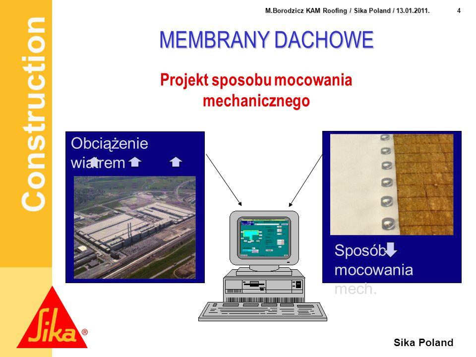 Construction 4 M.Borodzicz KAM Roofing / Sika Poland / 13.01.2011. Sika Poland MEMBRANY DACHOWE Projekt sposobu mocowania mechanicznego Sposób mocowan
