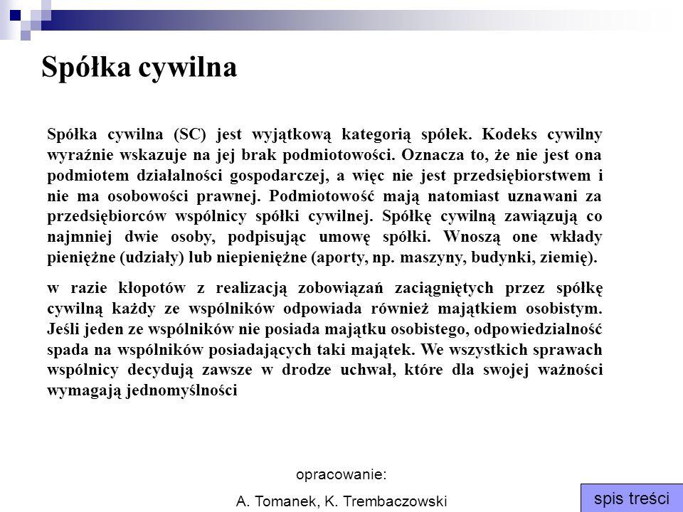 opracowanie: A. Tomanek, K. Trembaczowski spis treści Spółka cywilna Spółka cywilna (SC) jest wyjątkową kategorią spółek. Kodeks cywilny wyraźnie wska