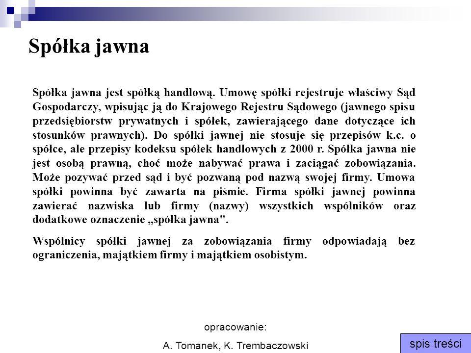 opracowanie: A. Tomanek, K. Trembaczowski spis treści Spółka jawna Spółka jawna jest spółką handlową. Umowę spółki rejestruje właściwy Sąd Gospodarczy