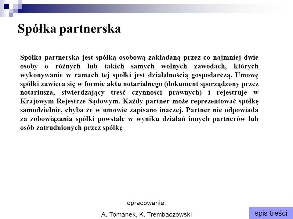 opracowanie: A. Tomanek, K. Trembaczowski spis treści Spółka partnerska Spółka partnerska jest spółką osobową zakładaną przez co najmniej dwie osoby o