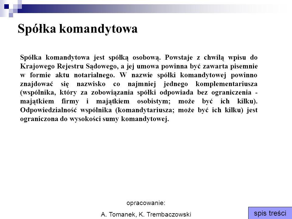 opracowanie: A. Tomanek, K. Trembaczowski spis treści Spółka komandytowa Spółka komandytowa jest spółką osobową. Powstaje z chwilą wpisu do Krajowego