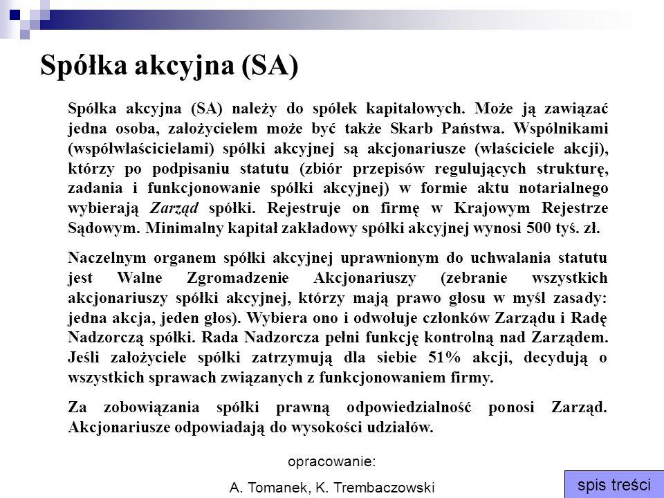 opracowanie: A. Tomanek, K. Trembaczowski spis treści Spółka akcyjna (SA) Spółka akcyjna (SA) należy do spółek kapitałowych. Może ją zawiązać jedna os