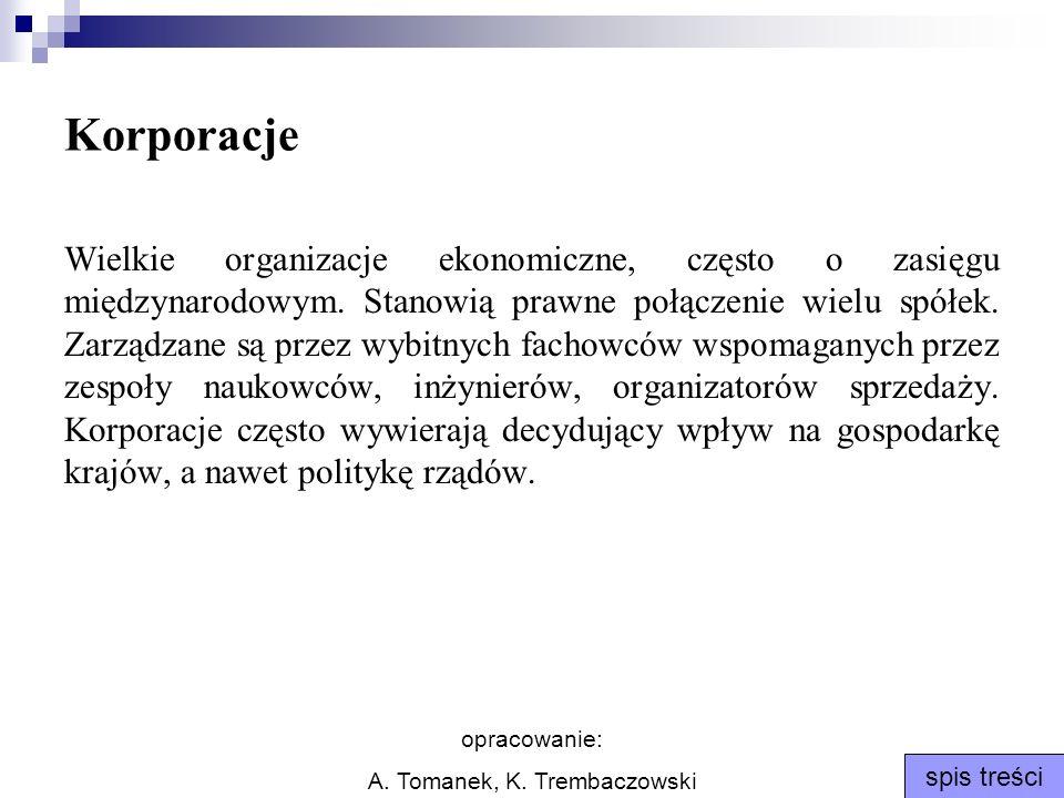 opracowanie: A. Tomanek, K. Trembaczowski spis treści Korporacje Wielkie organizacje ekonomiczne, często o zasięgu międzynarodowym. Stanowią prawne po