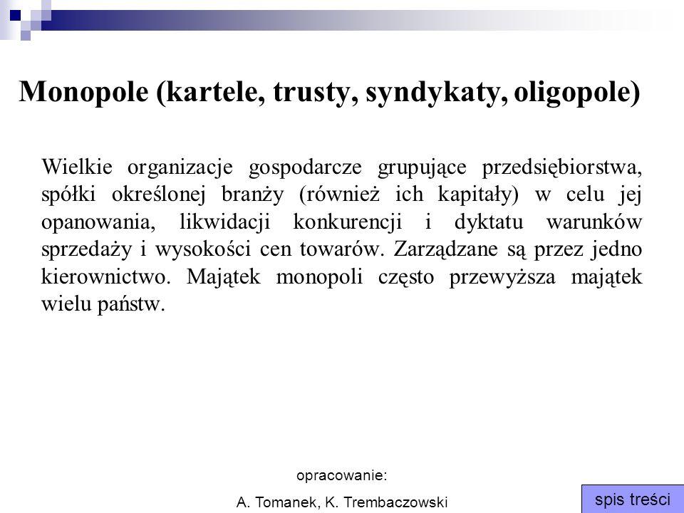 opracowanie: A. Tomanek, K. Trembaczowski spis treści Monopole (kartele, trusty, syndykaty, oligopole) Wielkie organizacje gospodarcze grupujące przed