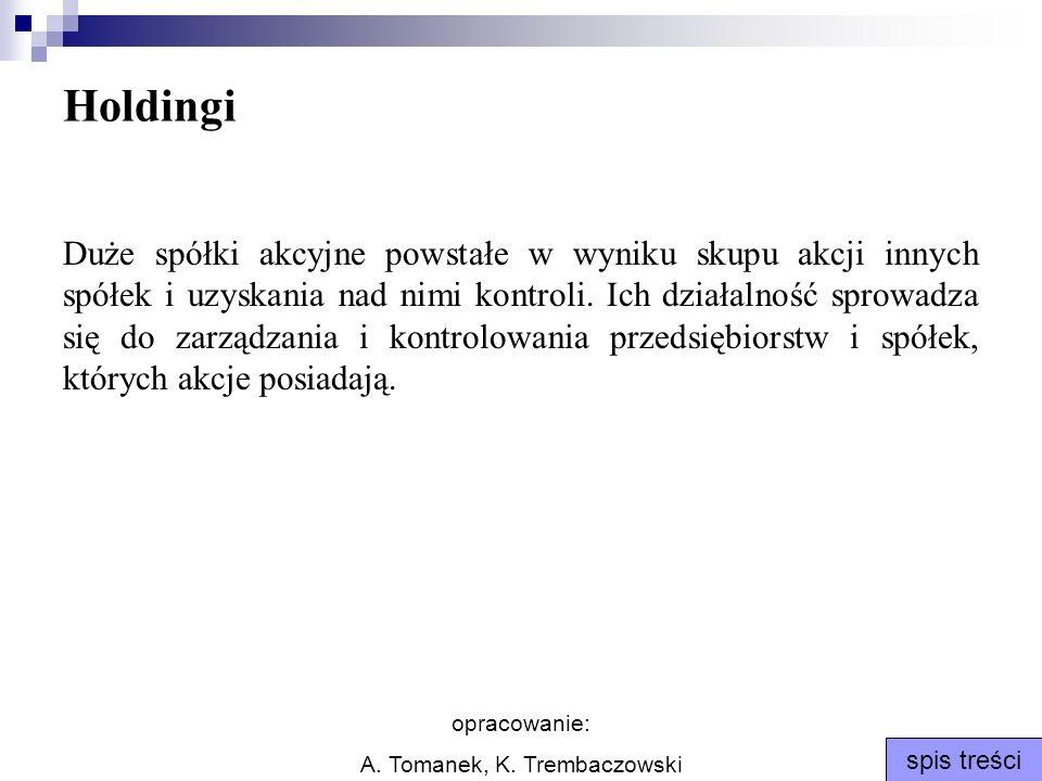 opracowanie: A. Tomanek, K. Trembaczowski spis treści Holdingi Duże spółki akcyjne powstałe w wyniku skupu akcji innych spółek i uzyskania nad nimi ko