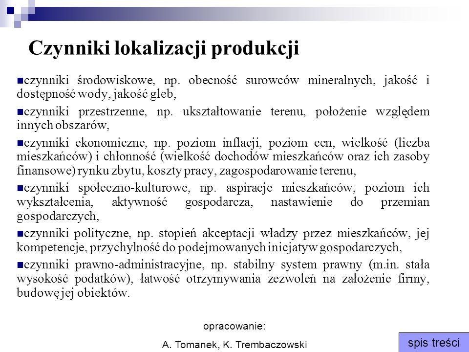 opracowanie: A. Tomanek, K. Trembaczowski spis treści Czynniki lokalizacji produkcji czynniki środowiskowe, np. obecność surowców mineralnych, jakość