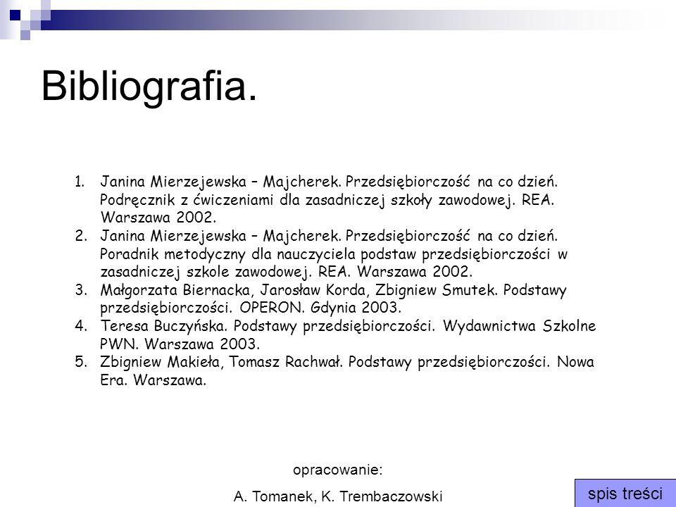 opracowanie: A. Tomanek, K. Trembaczowski spis treści Bibliografia. 1.Janina Mierzejewska – Majcherek. Przedsiębiorczość na co dzień. Podręcznik z ćwi